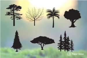Tree silhouettes dxf files preview