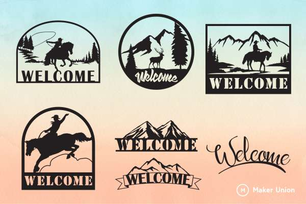 Welcome signs dxf files preview