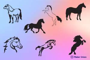 Wild horses dxf files preview