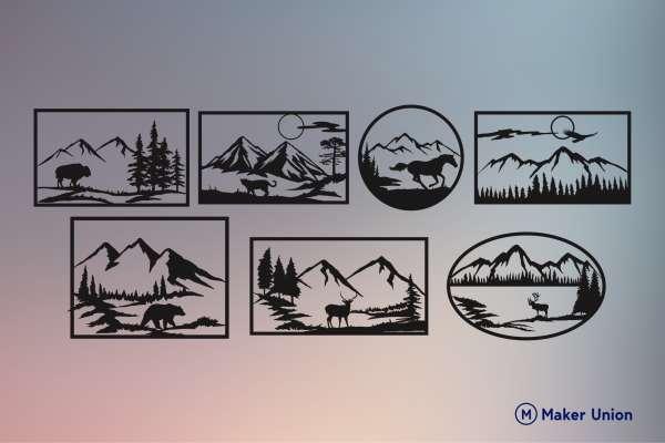 Wildlife landscape scenes dxf files preview