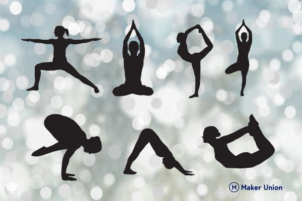 Yoga poses dxf files preview